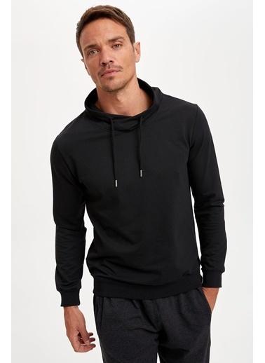 DeFacto Şal Yaka Slim Fit Basic Sweatshirt Siyah